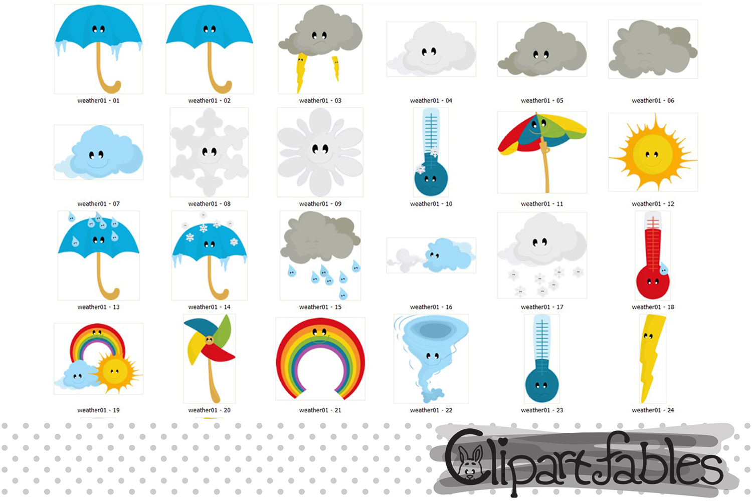 Weather Clipart, cute cloud clip art, Kawaii Clipart Set.