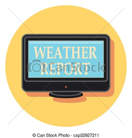 Vector Clip Art of weather report flat icon in circle.eps.