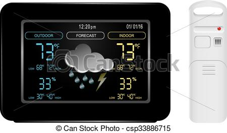 Vector Clip Art of Color display and sensor for weather station.