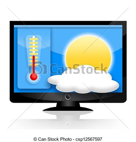 Stock Illustration of Weather forecast on the computer or tv.