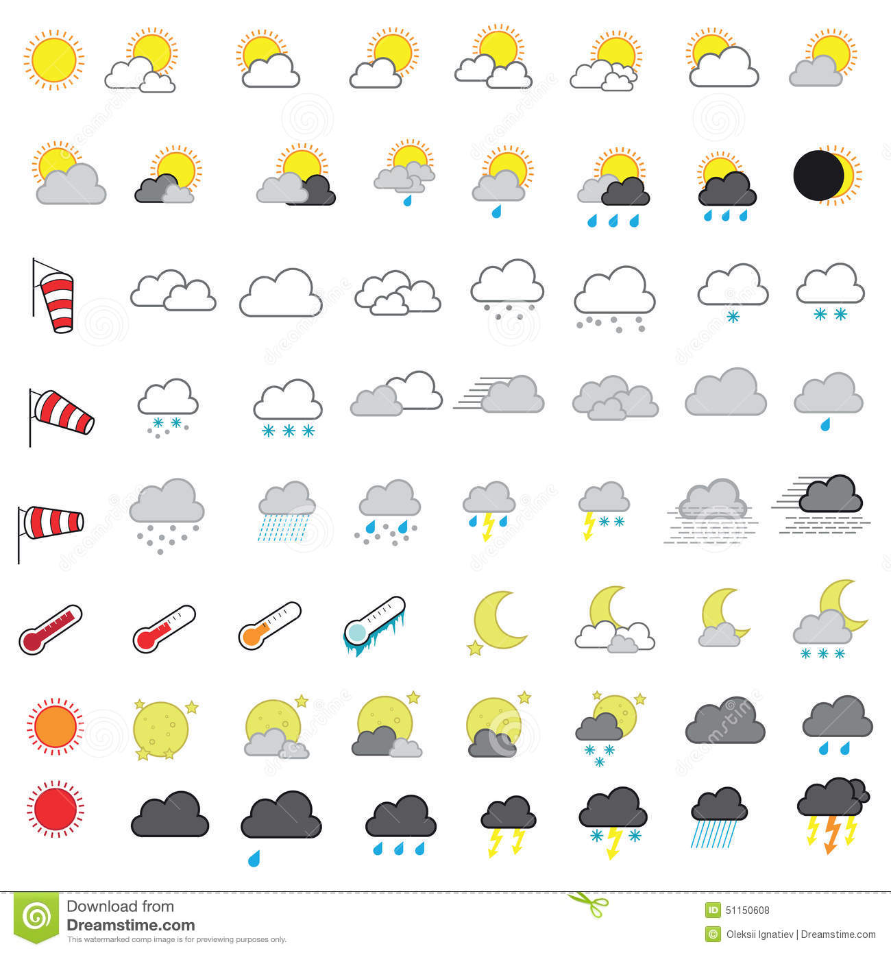 Cool Looking Weather Forecasting Vector Icon Set Stock Vector.