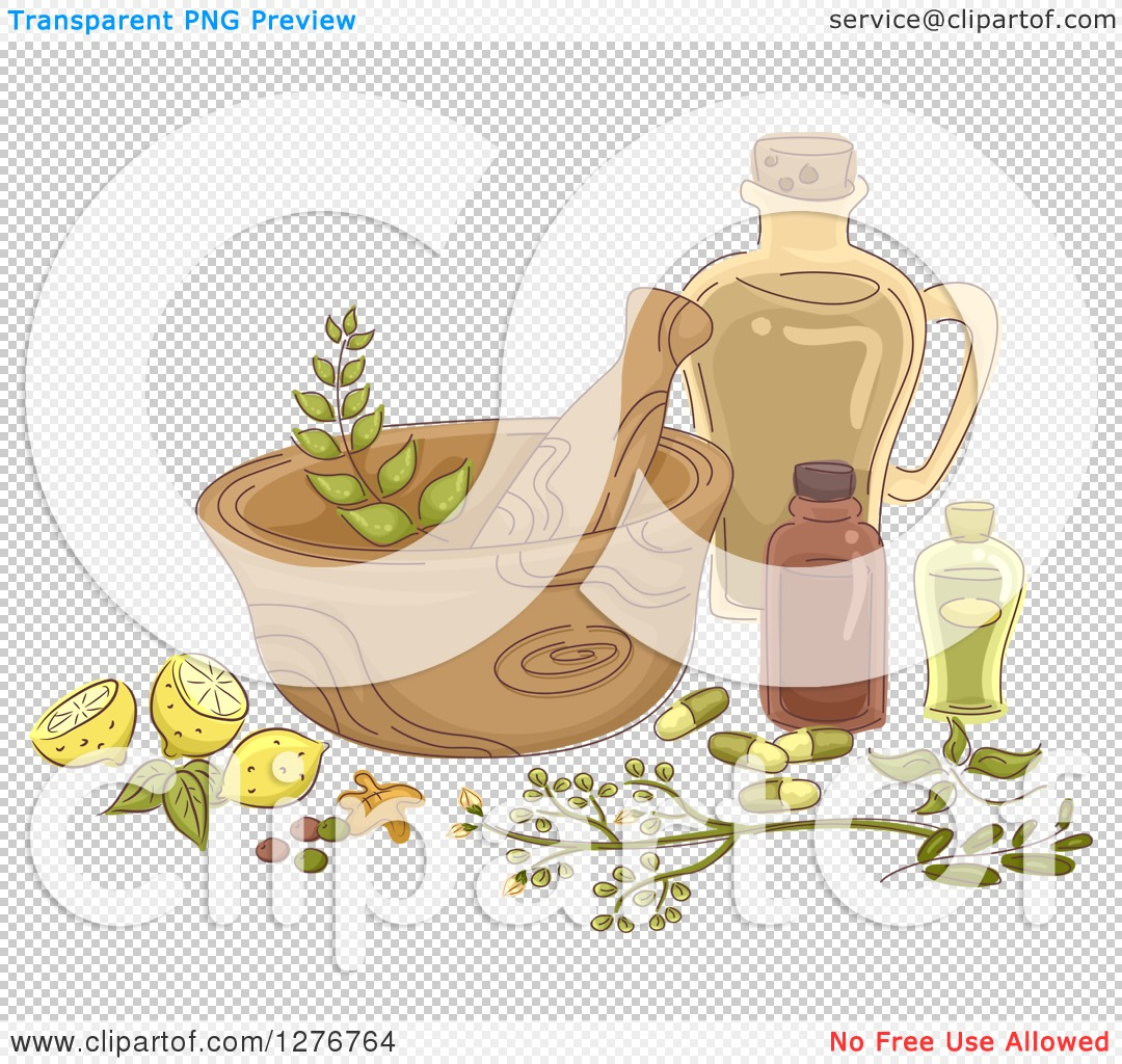 Clipart of a Mortar and Pestle with Lemons and Herbal Medicine.