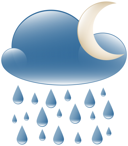 Rainy Night Weather Icon PNG Clip Art.