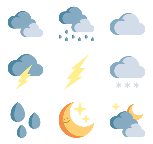 36 weather forecast icon packs.
