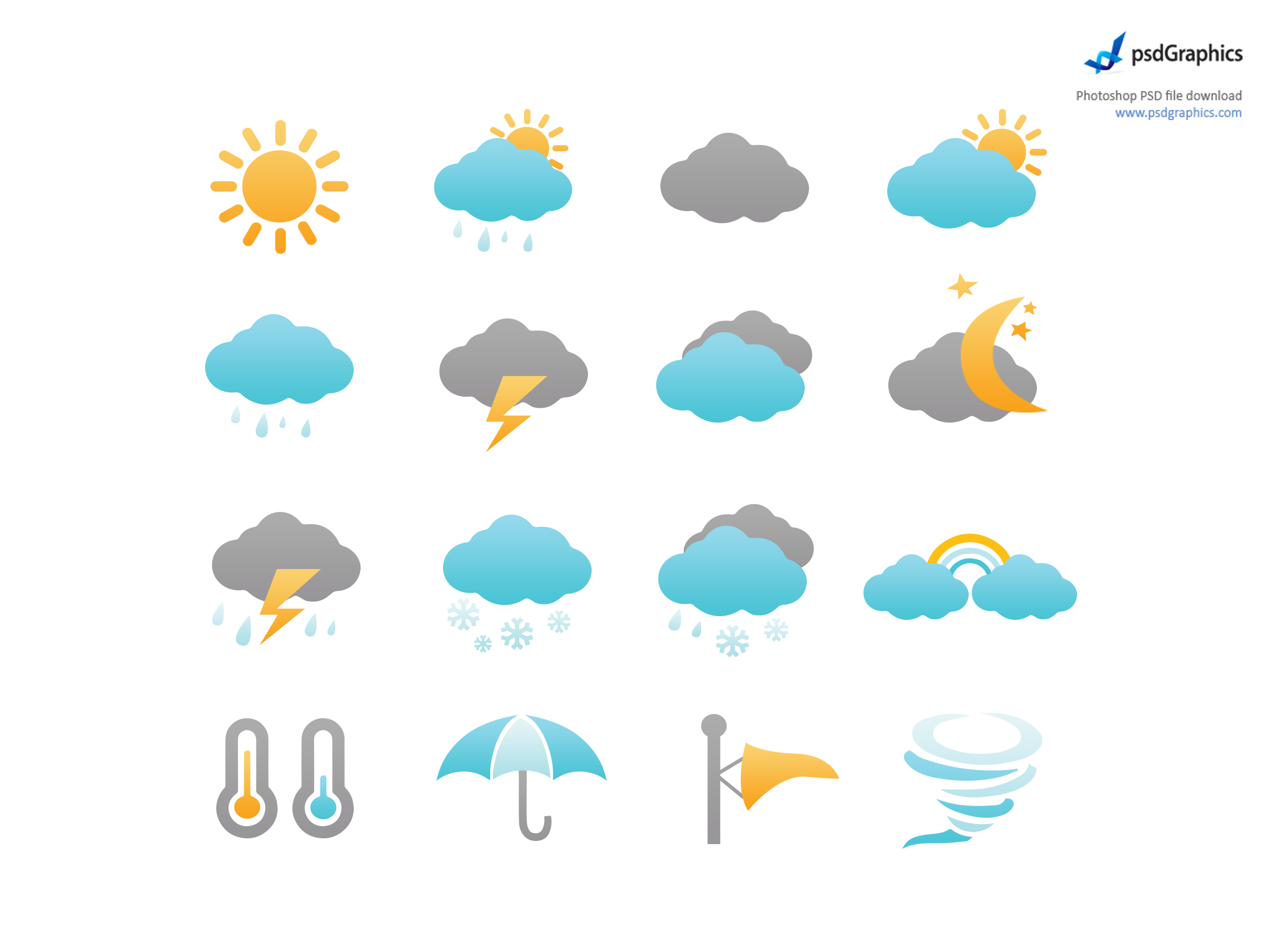 Weather icons set (PSD).