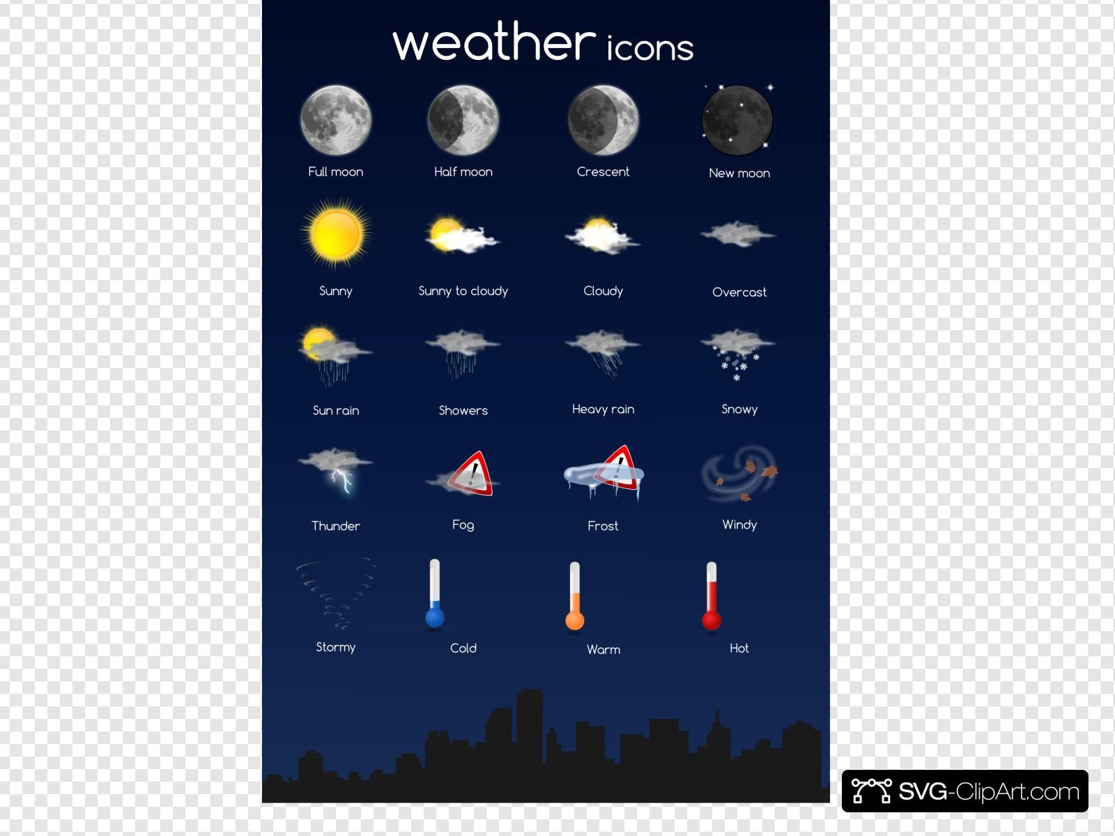Weather Icon Set Clip art, Icon and SVG.