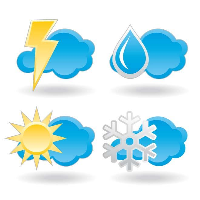 WEATHER ICONS AND SYMBOLS.