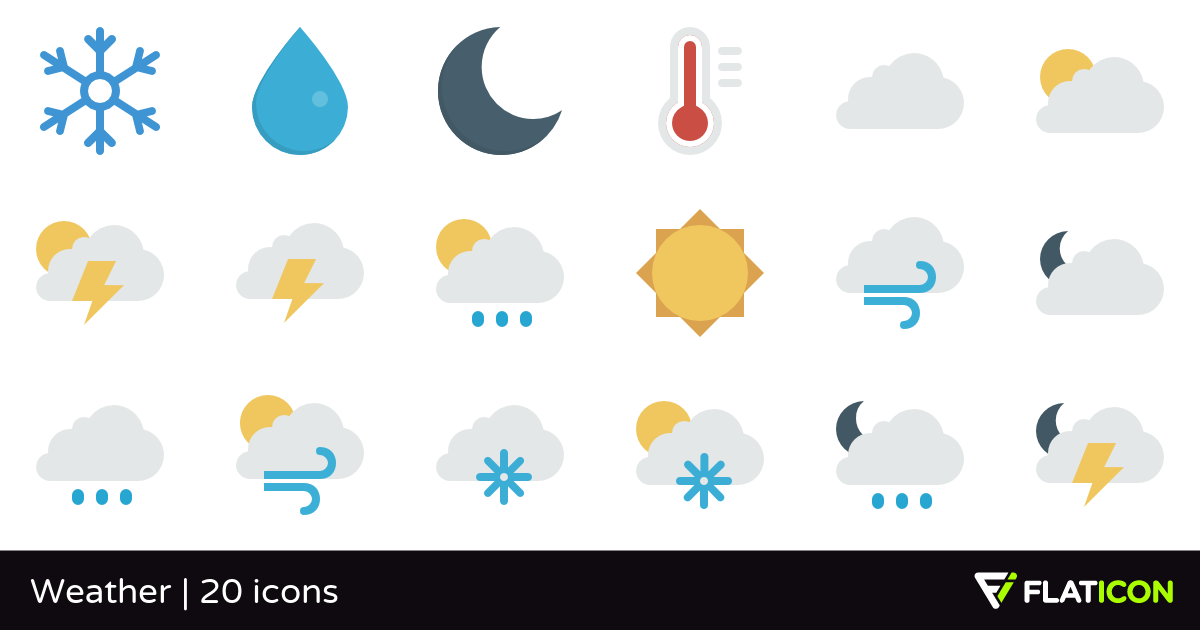 Weather 20 free icons (SVG, EPS, PSD, PNG files).