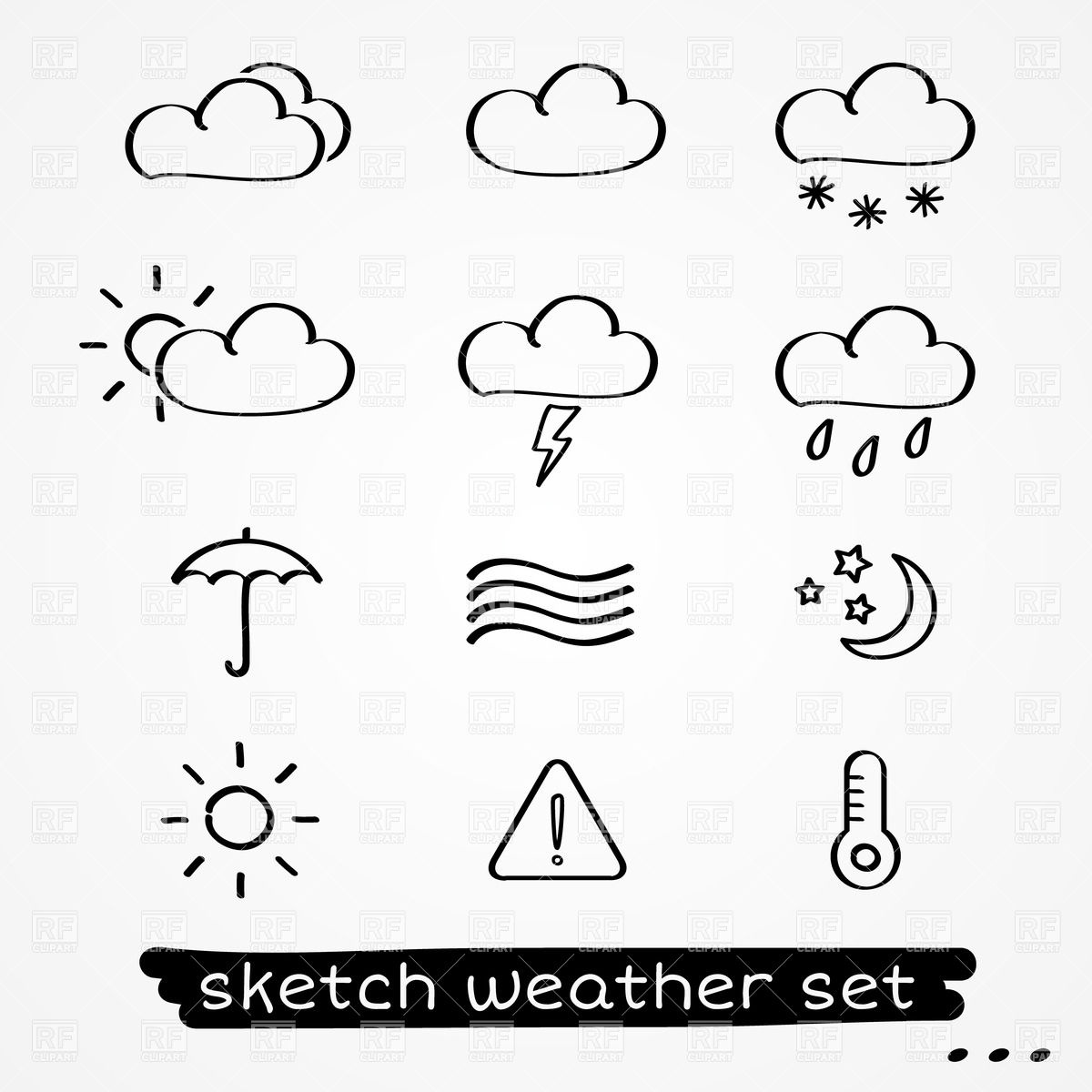 Weather forecast clipart black and white.