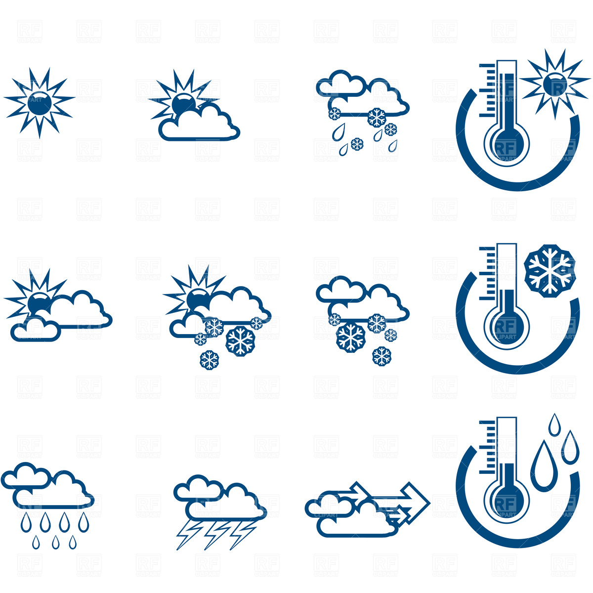 Simple weather forecast icons Vector Image #4590.
