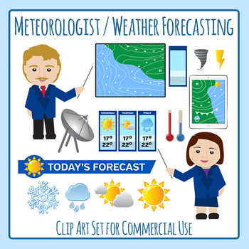 Community Helper Meteorologist / Weather Reporter Clip Art for Commercial  Use.