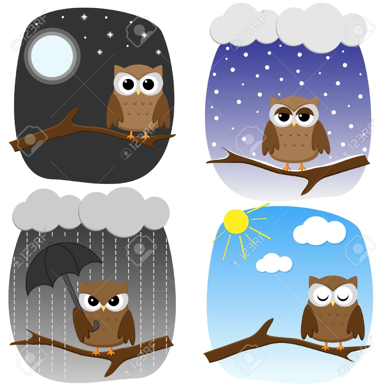 Four Owls On Branches In Different Weather And In Different Mood.