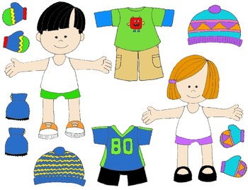Kids in Action: Paper Dolls for Fall and Winter Clip Art 61 PNG\'s.