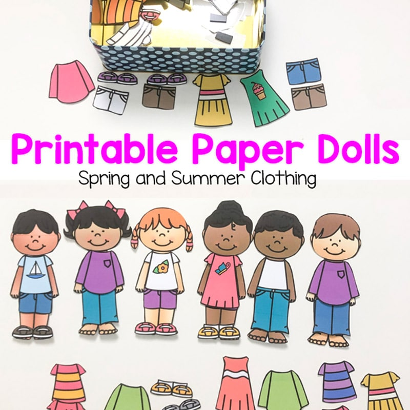Printable Paper Dolls For Spring, Summer, Winter and Fall.