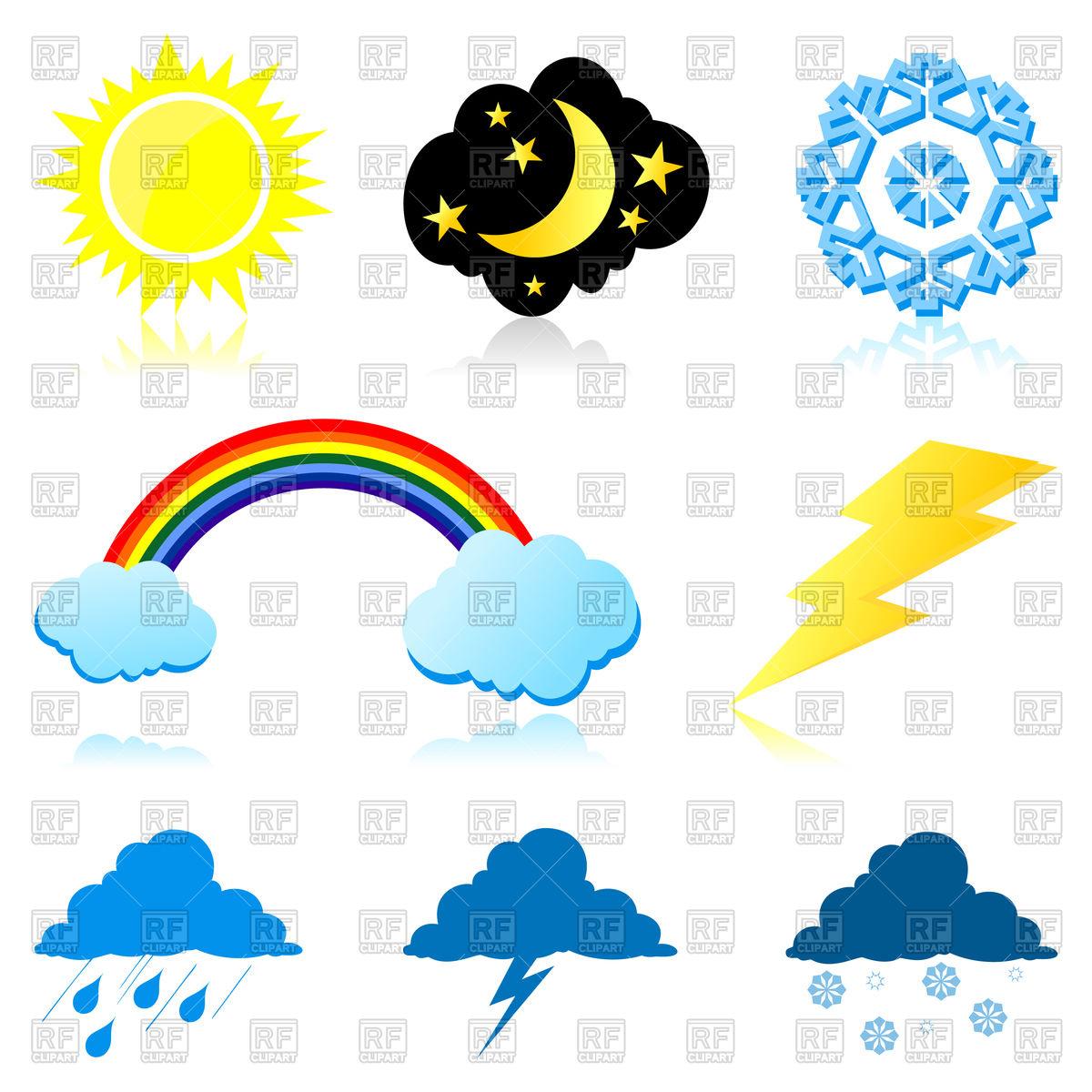Icons of weather phenomena Vector Image #82658.