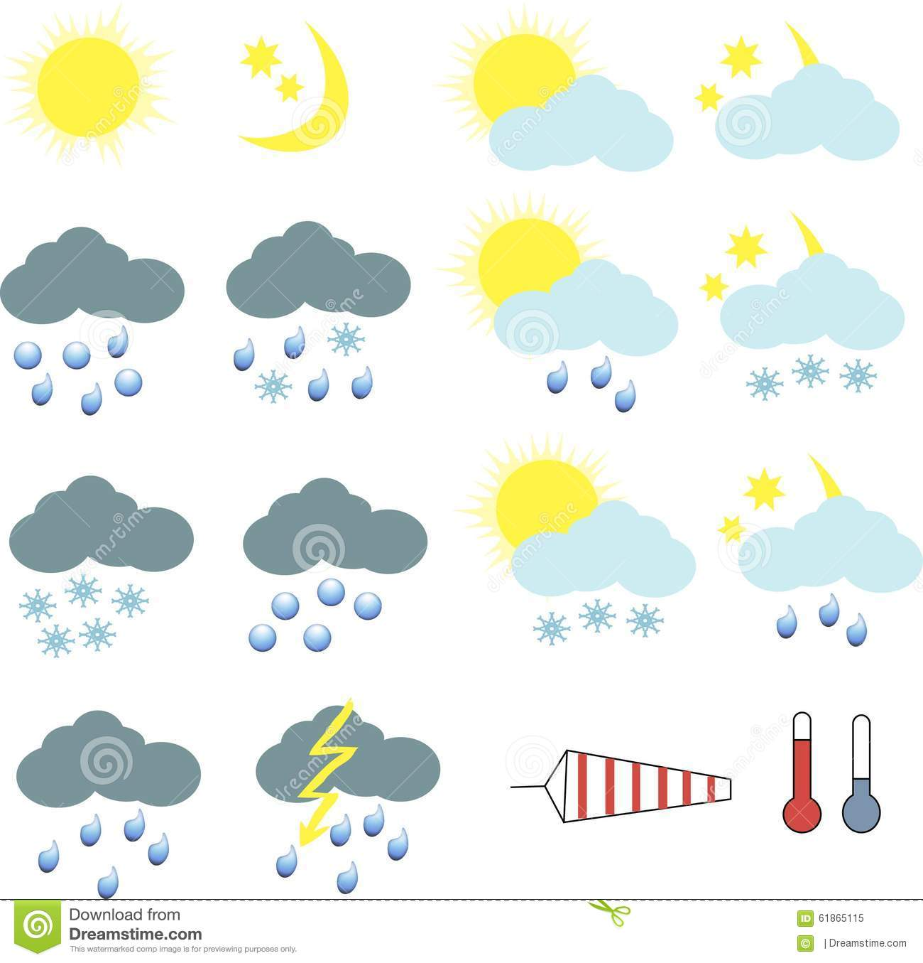Clipart For Weather Icons Stock Illustration.
