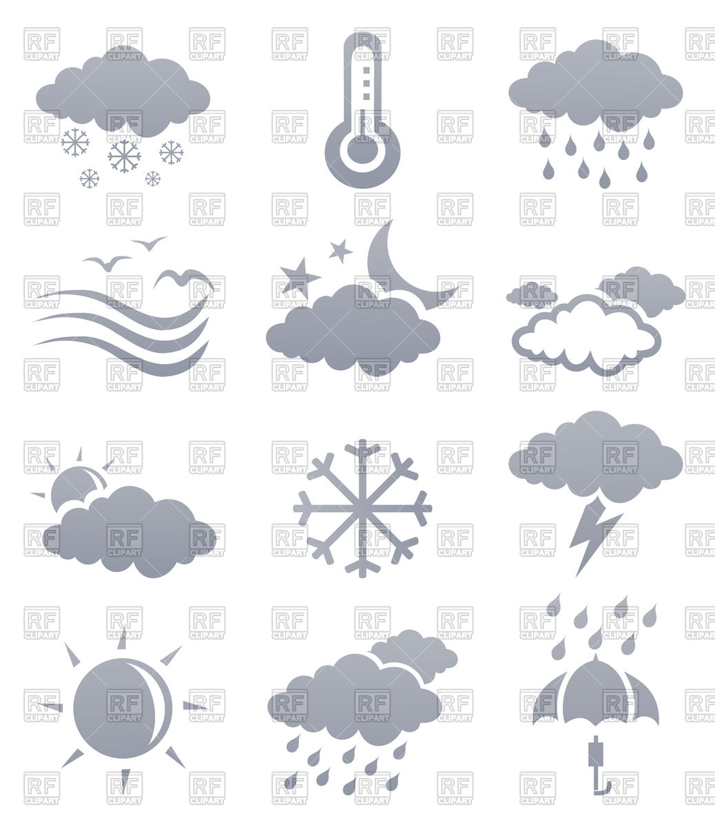 Icons of weather phenomena.