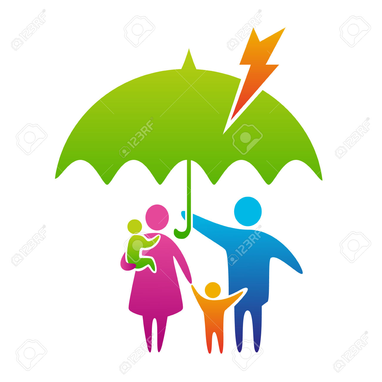 Happy And Loving Family With Children Under Umbrella, Protection.