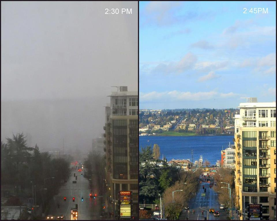 15 Minute difference in Seattle weather : Seattle.