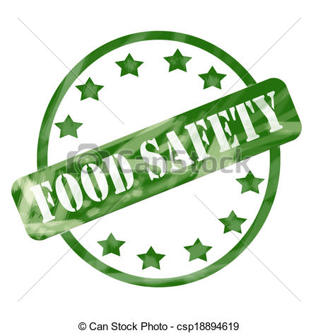 Clipart of Green Weathered Food Safety Stamp Circle and Stars.