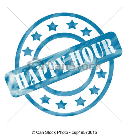 Clipart of Blue Weathered Happy Hour Stamp Circles and Stars.