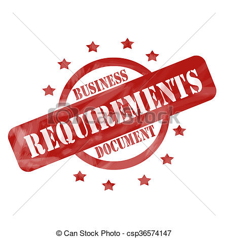 Drawing of Red Weathered Business Requirements Document Stamp.