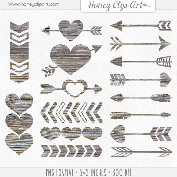 Digital Wood Heart Clipart Wooden Arrow Clip Art Weathered by.