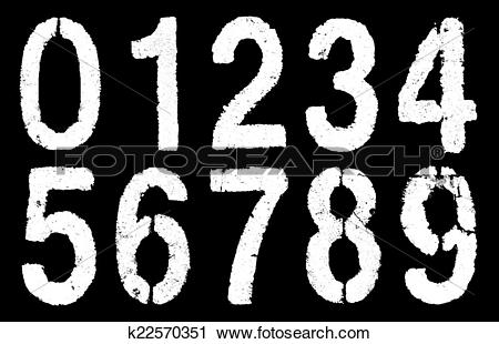 Clipart of weathered numbers 0.