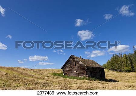 Stock Images of An old weathered wooden structure in a field.