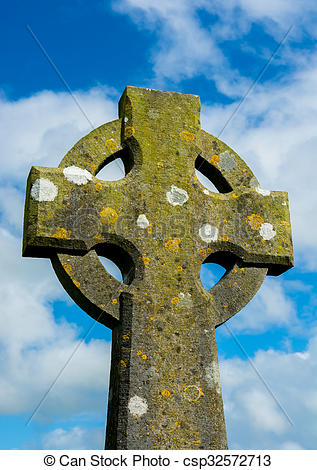 Stock Photography of Weathered Celtic Cross csp32572713.