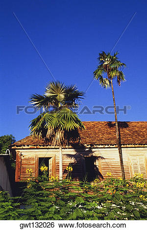 Stock Images of A weathered house in the town of Castries, St.