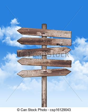 Stock Photo of Old weathered wood on blue sky.