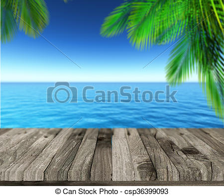 Stock Illustration of 3D weathered wooden deck looking out to.
