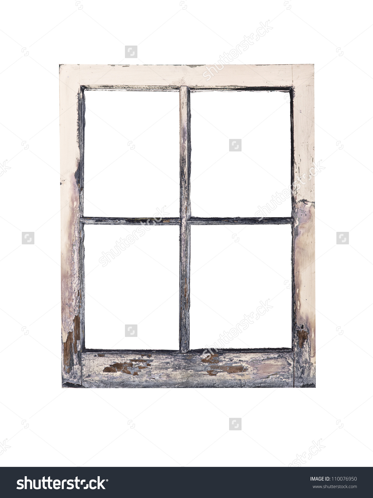Old Weathered Rustic Window Frame Peeling Stock Photo 110076950.