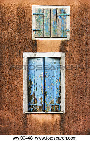 Pictures of Facade, weathered window shutters, close up wwf00448.
