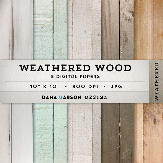Distressed Wood Digital Paper with rustic wood textures for.