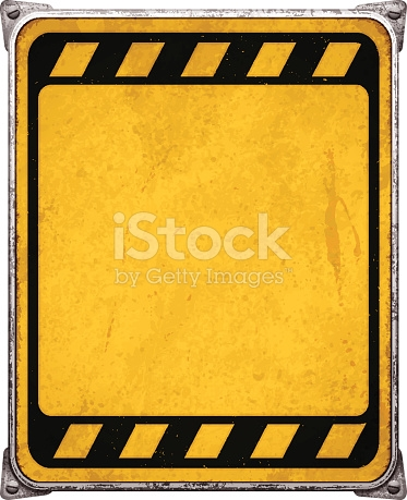 Weathered Yellow Metal Placard With Corners And Screwsvector stock.