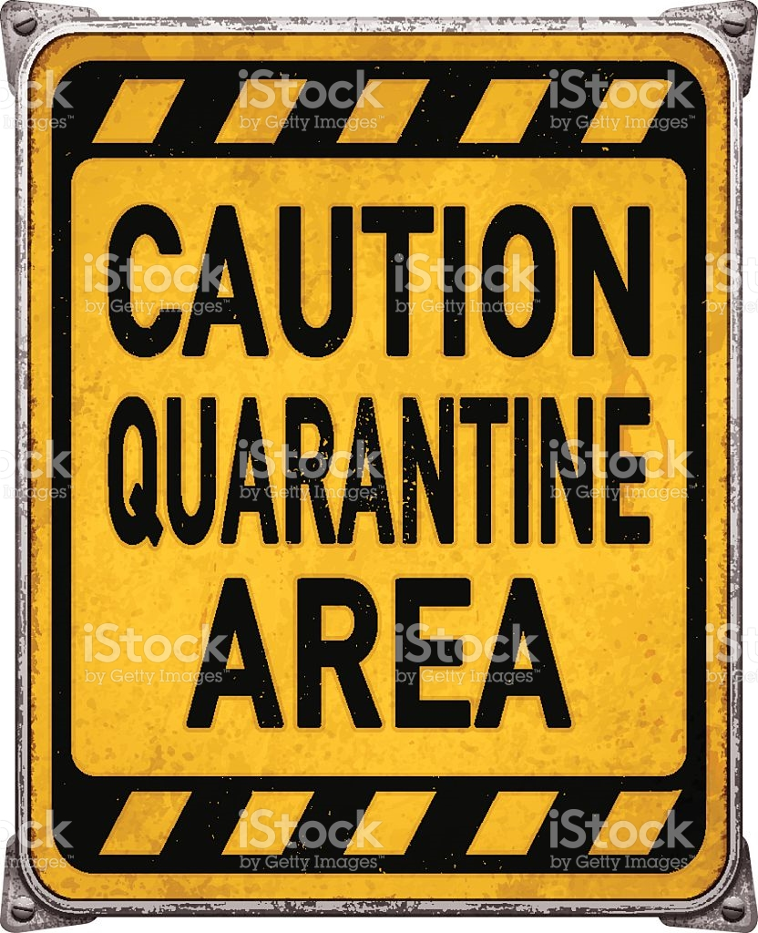Weathered Yellow Quarantine Area Metal Placardvector stock vector.