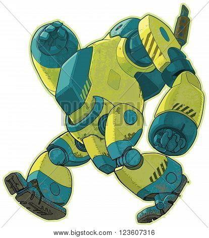 A vector cartoon clip art illustration of a giant yellow weathered.