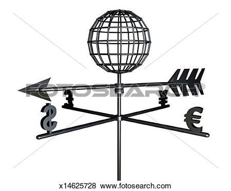 Pictures of Weather Vane with Money Symbols and a Globe x14625728.