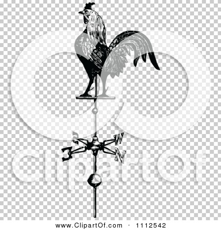 Clipart Vintage Black And White Rooster Weathervane.