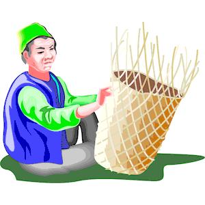 Man Weaving Basket clipart, cliparts of Man Weaving Basket free.