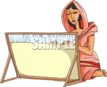 Ethnic Woman Weaving on a Loom.