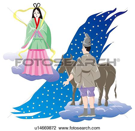 Clip Art of Festival of the Weaver Star, Tanabata, Japan u14669872.