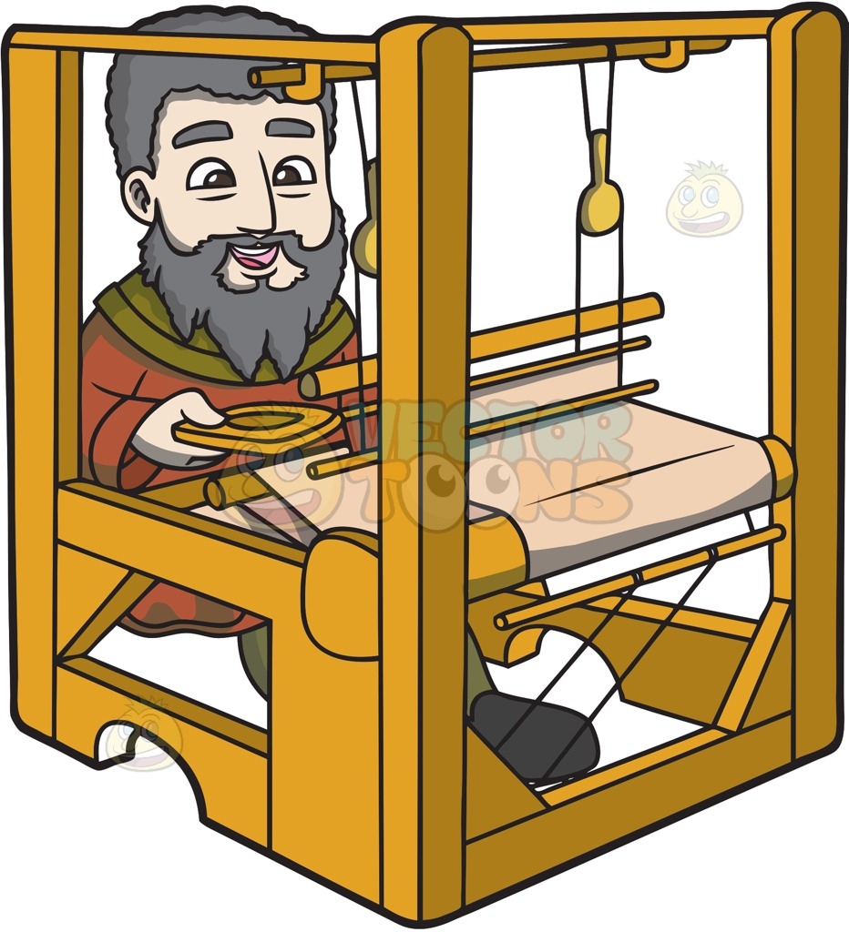 A Saxon Weaver Cartoon Clipart.