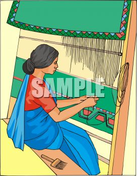 East Indian Woman Weaving on a Loom.