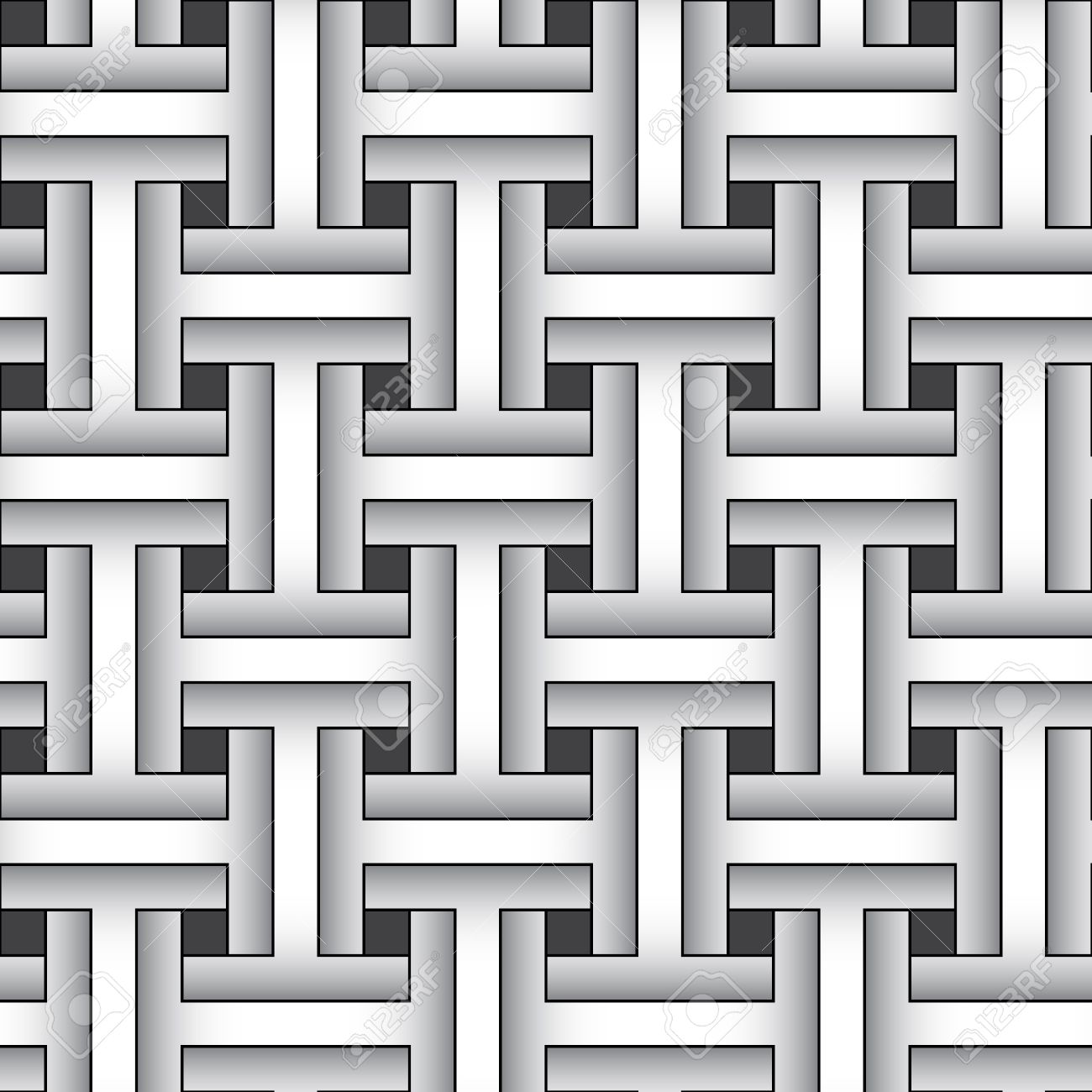 Weaving Monochrome Abstract Graphic Pattern.