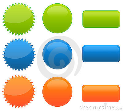 Set Of 9 Web 2.0 Circular Glossy Buttons Stock Photography.