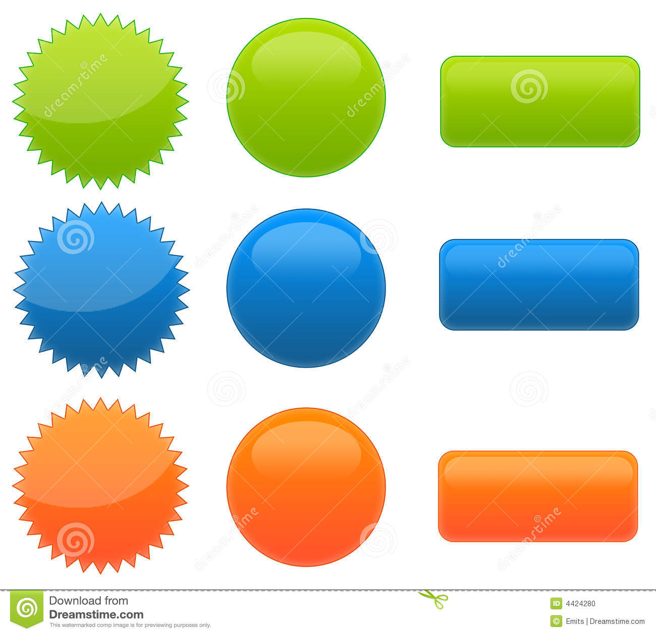 Set Of 9 Web 2.0 Glossy Buttons Stock Photo.