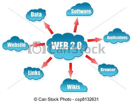 Clipart of Web 2.0 word on cloud scheme csp8132631.